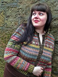 The original cardigan uses 13 colours in Rowan Felted Tweed DK and is rather bright when you see it in real life.  Using: Phantom Avocado Ancient Celadon Rage Cinnamon Pine Ginger Duck Egg Gilt Cam...