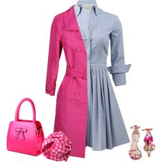 My pink trench coat by lenaick on Polyvore featuring moda, Michael Kors, Ermanno Scervino, Steve Madden and Oscar de la Renta