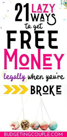 Stop being broke with these (easy) 21 ways to get free money today! These money .Stop being broke with these (easy) 21 ways to get free money today! These money making ideas and side hustle opportunities are perfect if you're busy . Make Easy Money, Make Money Fast, Ways To Save Money, How To Get Money, Make Money From Home, Money Saving Tips, Managing Money, Free Money Now, Money Today