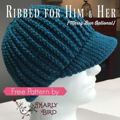 Get a Free Crochet Messy Bun Hat Pattern that is for Him and Her! The Ribbed For Him and Her hat pattern is a fun project to crochet. It does take a bit more time than a simple double crochet messy bun hat but it is worth it! Crochet Men, Crochet Gratis, Free Crochet, Crochet Stitch, Slip Stitch, Beanie Pattern Free, Crochet Beanie Pattern, Free Pattern, Crochet Hat With Brim