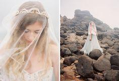 Vintage crown under veil