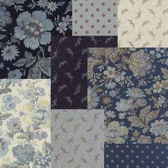 SNOWBIRD 8 fqs Navy Shabby quilt fabric Edyta by melodyoftheheart