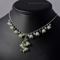 Lily of the valley beadwoven necklace by BeadCatcher on Etsy
