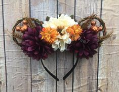 Mickey's Copper Harvest (Fall Mickey Mouse Ears, Copper Pumpkins, Halloween Floral Ears, Thanksgiving Wire Ears, Food and Wine Festival) Disney Ears Headband, Diy Disney Ears, Disney Headbands, Disney Mickey Ears, Mickey Mouse Ears, Disney Diy, Disney Crafts, Disney Dream, Micky Ears