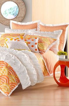 Yellow and orange themed bedding