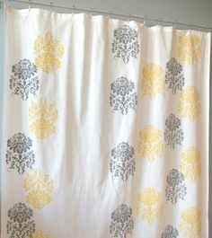 yellow and grey shower curtain for master bath