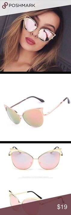Vintage Cat Eye Sunglasses  two different colors Super chic! Classic Cat Eye Metal Women Sunglasses Brand Designer Retro Vintage Sunglasses Women Mirror Rose Gold  Metal frame Brand New Accessories Sunglasses