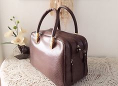 Brown leather bag, Women small briefcase, Genuine leather with croco print, Brown leather satchel, Rolled handles, Travel bag, Purse, Tote