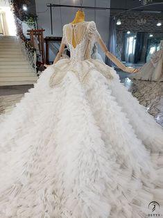 OSTTY - Lace Backless High Waist Cloud Long Trailing Wedding Dress OS2228 $1,299.99 Slim Waist, High Waist, Beaded Curtains, Beaded Lace, Formal Dresses, Wedding Dresses, Ball Gowns, Backless, One Piece