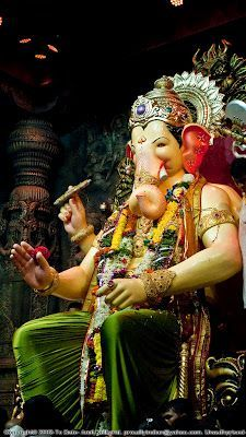 """Raja believed to be """"Navsacha Ganpati"""". (which means the fulfiller of all wishes). Ganesh Chaturthi Messages, Ganesh Chaturthi Photos, Happy Ganesh Chaturthi Images, Photos Of Ganesha, Shri Ganesh Images, Ganesha Pictures, Ganesh Idol, Ganesha Art, Ganesha Drawing"""