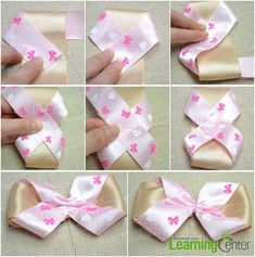 Hair Bow with 2 Ribbons Tutorial (Written & Pics - Add Tutorials in Related Articles) 20 diy gift bow topper ideas and tutorials new bows and prices décoration How to Make a Simple Hair Bow Out of Bicolored Ribbons Pinwheel using No Bow No Go. Ribbon Hair Bows, Diy Hair Bows, Diy Bow, Diy Ribbon, Hair Accessories Holder, Diy Hair Accessories, Hair Bow Tutorial, Bow Pattern, Handmade Hair Bows