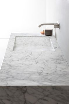 | INTERIOR + BATHROOMS | #Integrated #Carrara #marble bathroom vanity, countertops