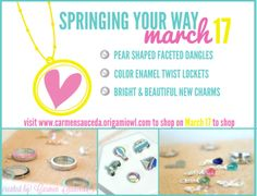 New Spring Origami Owl items Earrings, Enamel lockets, bright new charms, pear shaped dangles  Shop March 17 #origamiowl