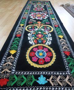 Vintage Black Velvet Suzani Panel Bed Decor Sofa by IKATSUZANI