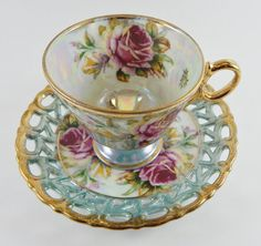 Lusterware/Irridescent Tea Cup and Lattice Saucer by MSMUnlimited