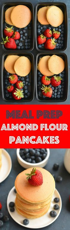 Meal Prep Almond Flour Pancakes! Made with 6 ingredients, these hearty pancakes have no added sugar, are low carb, high protein & delicious! Keep them in the refrigerator or freezer for an easy meal prep breakfast. Paleo + Gluten Free + Low Calorie