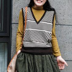 Item Code: 4798277222462 Material: 51%-70%Cotton Collar: V-neck Pattern: Plaid,Stripe Highlight: Knitted Season: Spring,Autumn,Winter Neck Pattern, Vest, Plaid, V Neck, Boho, My Style, Highlight, Casual, Cotton