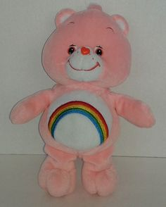 """CARE BEAR Cheer Pink Rainbow 10"""" PLUSH Soft 2002 STUFFED ANIMAL Collectable #AllOccasion"""