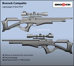 Brocock Compatto Precharged from a dive cylinder or high pressure pump delivering a shot capacity of 110-120 shots (at 12 foot pounds) per charge Removable self-indexing 10 shot rotary magazine – with optional single shot tray New synthetic ambidextrous stock Optional walnut stock Slingshot hammer system Two Stage trigger Paddle safety catch Full length, built in fully baffled silencer (carbine) with optional adaptor for second stage silencer Weight 6.3 lbs Length 35 inches