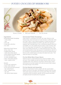 Disney cruise line recipes: Potato Gnocchi Cep Mushrooms.  These terrific, plump potato gnocchi are topped with mushrooms. This is a typical dish served by Disney cruise line while sailing the Mediterranean.