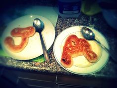 new way to make pancakes fun and tasty .. make them into letters or numbers .. spell names or make animal shapes