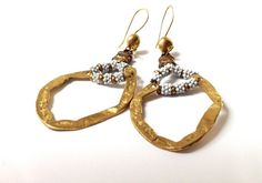VINTAGE GOLD EARRINGS 1970s jewels dangle di ERYCOLLECTION su Etsy, $39.00