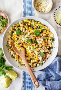 This Mexican Street Corn Salad is the ultimate summer cookout side! Grilled corn is tossed in a lightly creamy mayo/lime dressing while scallions Cotija cheese paprika and jalapeño add spicy fresh pops of flavor. So easy and delicious! Summer Cookout Sides, Summer Salads, Summer Barbecue, Mexican Food Recipes, Vegetarian Recipes, Dinner Recipes, Healthy Recipes, Seafood Recipes, Vegan Vegetarian