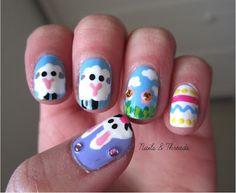 Easter nail art! nailsandthreads.blogspot.com check out www.MyNailPolishObsession.com for more nail art ideas. Easter Nail Art, Gel Nails, Art Ideas, Makeup, Check, Gel Nail, Make Up, Beauty Makeup, Bronzer Makeup