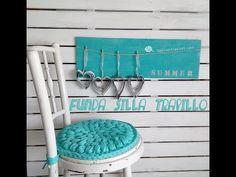 Holster saddle chair with crochet XL in pop corn Crochet Home, Love Crochet, Diy Crochet, Cotton Cord, Pop Corn, Crochet T Shirts, Crochet Decoration, Crochet Videos, T Shirt Yarn