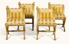 A SET OF FOUR NORTH ITALIAN EMPIRE GILTWOOD CHAIRS EARLY 19T