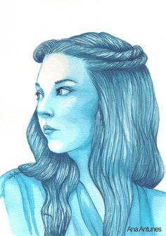 Handmade Painting of Natalie Dormer as Margaery Tyrell from the HBO tv series Game of Thrones, based on the book's from George R. R. Martin, A Song of Ice and Fire. 20,5 x 31 cm Media: Blue ink on watercolor paper.  Retrato de Natalie Dormer como Margaery Tyrell da serie da HBO Gerra dos Tron...