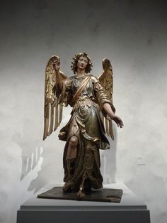 Archangel Raphael, circa 1600 Sculpture, Polychromed and gilded wood, Height: 70 in. (177.8 cm)