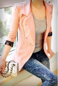 Tie dyed jeans, pink cropped blazer with black lace. Perfection