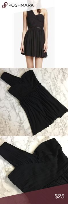 Express Black Cocktail Dress Chiffon one shoulder dress perfect for a wedding or cocktail party! Missing belt. Express Dresses One Shoulder