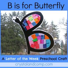 letter of the week preschool craft for the letter B. make a butterfly using a few simple supplies!