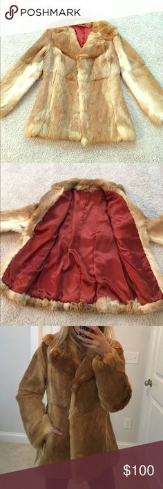 Fur Coat Blonde/beige fur coat. Really great condition. Super cute! Red lining satin inside. Jackets & Coats