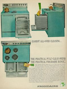 "1964 Ad, Frigidaire Stove/Range in Turquoise, ""Easiest All-Over Cleaning"" We had a Brown stove like this, Mother love having two ovens. Kitchen Aid Appliances, Viking Appliances, Vintage Appliances, Vintage Kitchenware, Copper Appliances, Small Appliances, Funny Vintage Ads, Vintage Humor, Vintage Advertisements"
