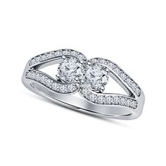 White Sim Diamond in 925 Sterling Silver Plated Two-Stone Promise Wedding Ring…