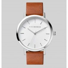 The Horse Watch Polished Steel / White Face / Tan Leather
