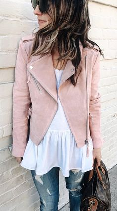 Pink Suede Jacket & White Top & Ripped Skinny Jeans