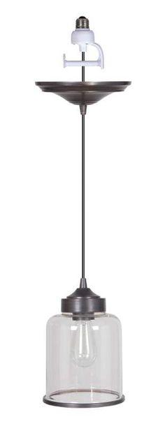 "Worth Home Products PKN-8224 Instant Pendant Series Single Light 7"" Wide Recesse Brushed Bronze Indoor Lighting Pendants"