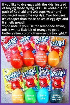Kool-aid for dying Easter eggs. Easter Activities, Easter Crafts For Kids, Easter Decor, Holiday Activities, Kid Crafts, Easter Table, Easter Centerpiece, Easter Stuff, Easter Art