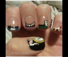 Alice in wonderland nails created using CND Shellac utopiasalonspa.com Vineland,NJ
