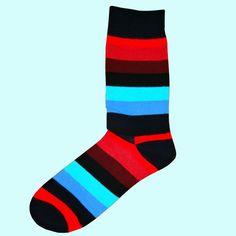 Multi Coloured Stripe Socks - Black.Red.Wine.Blue.Turquoise Color Stripes, Stripes Design, Multi Coloured Socks, Brown Socks, Striped Socks, Fashion Socks, Cotton Socks, Red Wine, Turquoise
