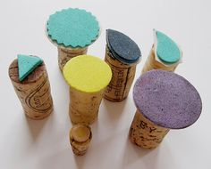 DIY stamps - cut out craft foam and stick to cork ends