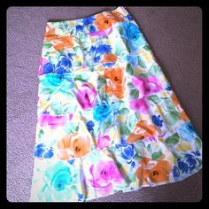 "Handmade flounce skirt This is a cotton skirt. It's a medium & the length is 31""...also you can cut it off at any of the flounces if you'd like it shorter...I have a matching blazer in my closet. Handmade Skirts A-Line or Full"