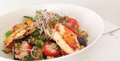 spelt couscous met aubergine, kip en kiemen