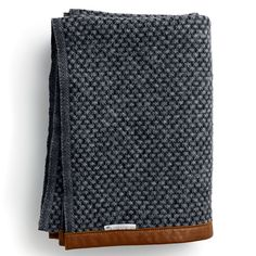 Haverdal throw in dark grey from Skarsgaarden. The throw is made of wool and has a simple expression with knitted patterns and leather details. Textiles, Manta Crochet, Soft Furnishings, Home Textile, Lana, Home Accessories, Weaving, Design, Inspiration