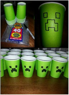 Minecraft Cupsyes You Can Do This Yourself Supplies 12oz Hot Cups I Found At Party City 8 For 40 But They Were Buy 1 Get Sharpie Fine Point In