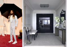 Okay, so Jared Leto isn't wearing a gown. But when we saw this whimsical white monochrome entryway that seemed to be copying his look–complete with oversized black umbrella–we couldn't resist. Oscar Gowns, Black Umbrella, Entertainment Room, Jared Leto, Monochrome, Whimsical, Entryway, Rooms, Interiors